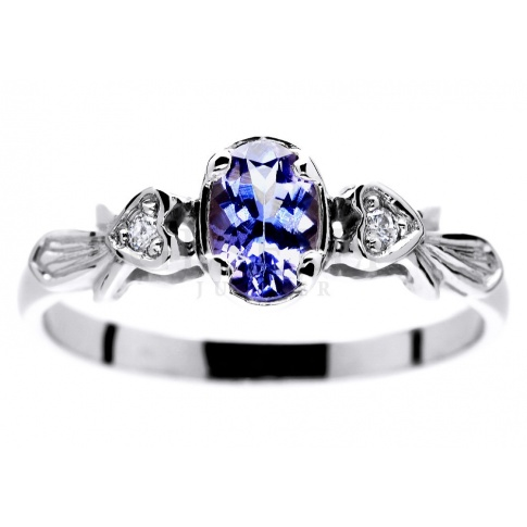 Zjawiskowy pierścionek z białego złota z tanzanitem i brylantami