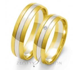 Tradycyjne obrączki ślubne z dwukolorowego złota pr. 585