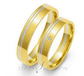 Obrączki ślubne w tradycyjnym stylu - dwa kolory złota, łagodny profil i delikatna linia