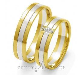 Komplet obrączek ślubnych z dwóch kolorów kruszcu próby 585 - białego i żółtego