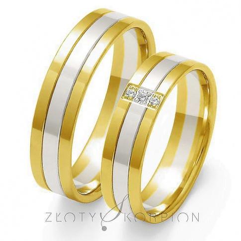 Komplet obrączek ślubnych z dwóch kolorów kruszcu - białego i żółtego