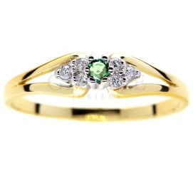 Niebanalny pierścionek zaręczynowy ze złota 14K z zielonym szmaragdem i brylantami 0,06 ct
