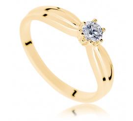 Elegancki złoty pierścionek zaręczynowy z brylantem 0.20 ct