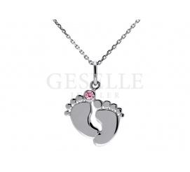 Słodki komplet ze srebra próby 925 - łańcuszek i wisiorek w kształcie odciśniętych stópek z różową cyrkonią Swarovski ELEMENTS - prezent dla dziewczynki - GRAWER W PREZENCIE