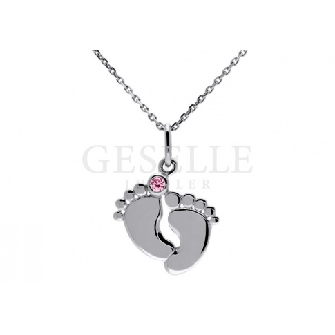 Słodka zawieszka ze srebra próby 925 - w kształcie odciśniętych stópek z różową cyrkonią Swarovski ELEMENTS - prezent dla dziewczynki - GRAWER W PREZENCIE