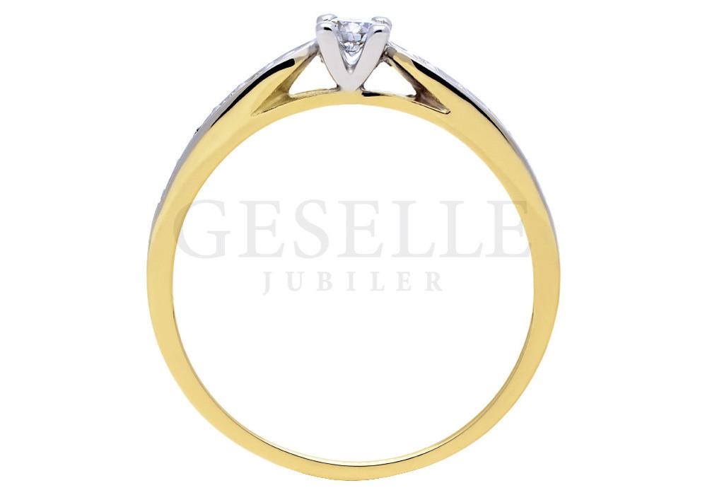 W Stylu Tiffany Złoty Pierścionek Zaręczynowy Z Jedenastoma