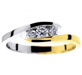 Wyjątkowy, dwukolorowy pierścionek zaręczynowy ze złota 14K z trzema brylantami 0,23 ct