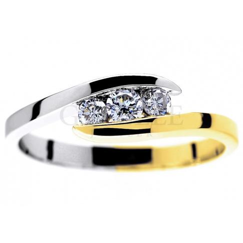 Wyjątkowy, dwukolorowy pierścionek zaręczynowy ze złota z trzema brylantami 0.23 ct