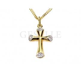 Delikatny złoty krzyżyk z białymi detalami pr. 585 - pomysł na prezent z okazji Komunii Świętej lub bierzmowania