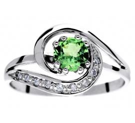 Niepowtarzalny, złoty pierścionek zaręczynowy z tsavorytem i brylantami 0,09 ct