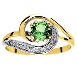 Niezwykły złoty pierścionek z tsavorytem i brylantami 0,09 ct  - wspaniały pomysł na zaręczyny!