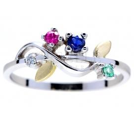 Wyjątkowy pierścionek z dwukolorowego złota o kształcie delikatnej gałązki z listkami - z brylantem, szafirem, rubinem i szmaragdem