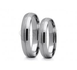 Szykowne i stylowe obrączki ślubne z białego kruszcu 14K z subtelną, ozdobną linią