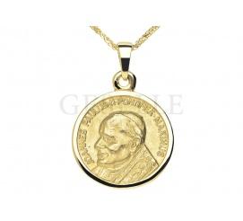 Wyjątkowy, złoty medalik z Papieżem Janem Pawłem II -  pomysł na prezent z okazji bierzmowania, święceń kapłańskich lub zakonnych - GRAWER W PREZENCIE