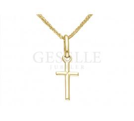 Delikatny krzyżyk z żółtego złota pr. 333 - pomysł na prezent z okazji Komunii Świętej