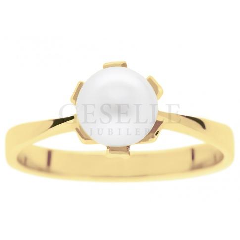 Niezwykły, stylowy pierścionek z perłą otoczony blaskiem klasycznego kruszcu próby 585