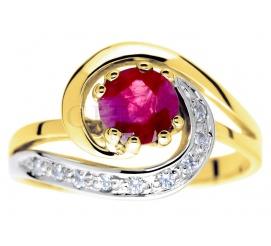 Symbol miłości - oryginalny pierścionek zaręczynowy z rubinem i brylantami w towarzystwie żółtego złota pr. 585