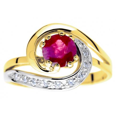 Symbol miłości - oryginalny pierścionek zaręczynowy z rubinem i brylantami w towarzystwie żółtego złota