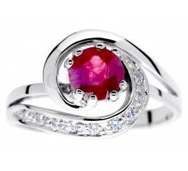 Niepowtarzalny pierścionek zaręczynowy z białego złota pr. 585 z okrągłym rubinem i brylantami 0.09 ct