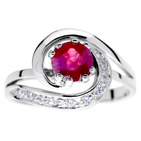 Niepowtarzalny pierścionek zaręczynowy z białego złota z okrągłym rubinem i brylantami 0.09 ct