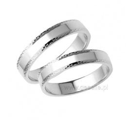 Eleganckie obrączki ślubne z białego złota 14K z ozdobną krawędzią
