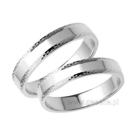 Eleganckie obrączki ślubne z białego złota z ozdobną krawędzią