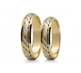Piękne obrączki ślubne z dwukolorowego, złota z dekoracyjną szyną