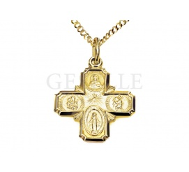 Równoramienny złoty krzyż z napisem na rewersie -