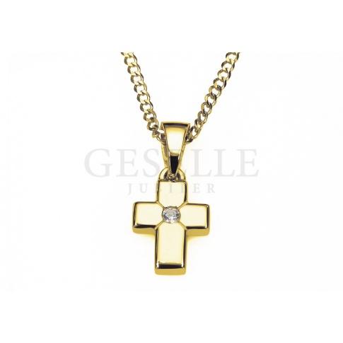 Mały, klasyczny złoty krzyżyk 14K z lśniącą cyrkonią - na Chrzest lub Komunię