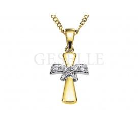 Niezwykle elegancki złoty krzyżyk z żółtego złota z dwoma brylantowymi wstęgami