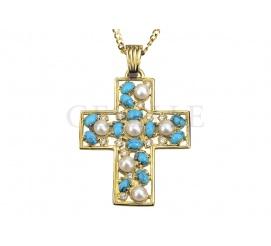 Solidny krzyż z 14-karatowego złota z turkusami, perłami i cyrkoniami
