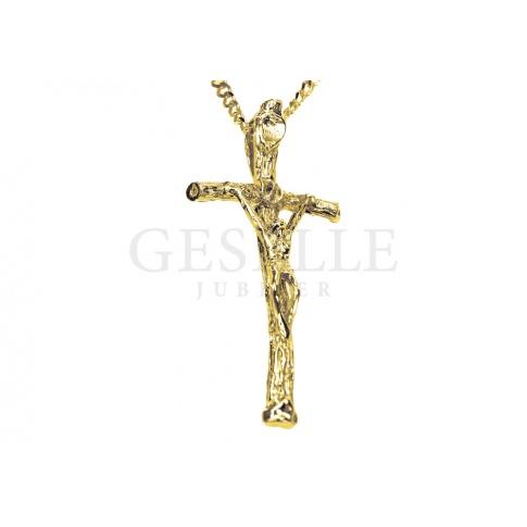 Klasyczny, wąski złoty krzyż z Jezusem Chrystusem - żółte złoto próby 585