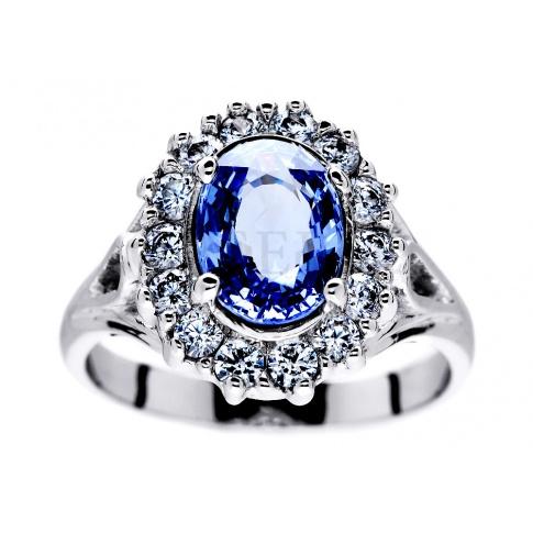 Pierścionek Zaręczynowy Księżnej Kate Middleton Owalny Szafir W