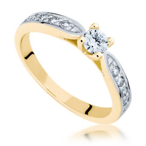 Niezwykle pożądany pierścionek zaręczynowy z żółtego złota z jedenastoma brylantami