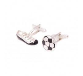 Ciekawe spinki do mankietów ze stali w kształcie piłki footballowej i buta piłkarskiego - idealne dla pilkarza!