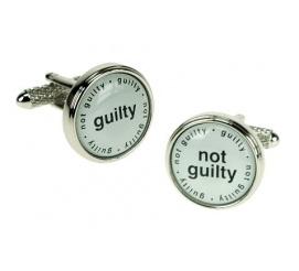 Zabawne spinki do mankietów z napisem GUILTY NOT GUILTY idealne na prezeznt dla prawnika!