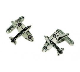 Oryginalne spinki do mankietów w kształcie samolotu bojowego Spitfire na prezent dla mężczyzny chłopaka!