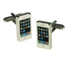 Śmieszne spinki do mankietów w kształcie telefonu iPhone'a - gadżet dla miłośników nowych technologi!
