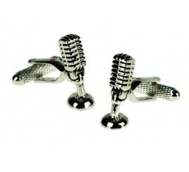 Zabawny pomysł na prezent spinki do mankietów w kształcie mikrofonu idealne dla chłopaka mężczyzny!