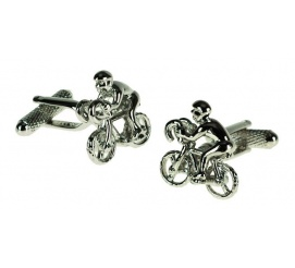 Ciekawe spinki do mankietów w kształcie rowerzysty, kolarza gadżet ze stali na prezent dla chłopaka mężczyzny!