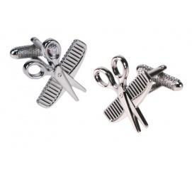 Zabawne spinki do mankietów koszuli w kształcie nożyczek i grzebienia idealne na prezent dla fryzjera!