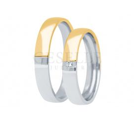 Elegancki duet obrączek - połączenie dwóch połówek z białego i żółtego złota z lśniącym brylantem