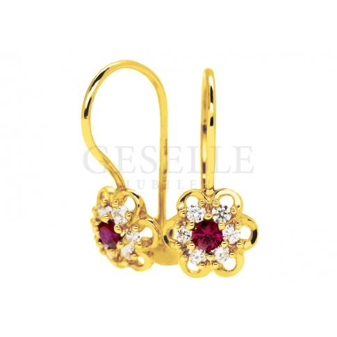 Urocze, złote kolczyki dla dziewczynki - białe i czerwone cyrkonie, kształt kwiatuszka, 14-karatowe złoto