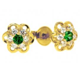 Urocze kolczyki ze złota 14K z cyrkoniami w kolorze soczystej zieleni i bieli - idealny pomysł na prezent dla dziewczynki!