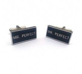 Zabawne spinki do mankietów z napisem MR. PERFECT idealne na prezent z poczuciem humoru!