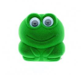 Słodkie opakowanie na biżuterię - zielona, uśmiechnięta żabka