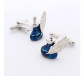 Nietuzinkowe spinki do mankietów pióro z atramentem idealne na prezent dla pisarza lub poety!