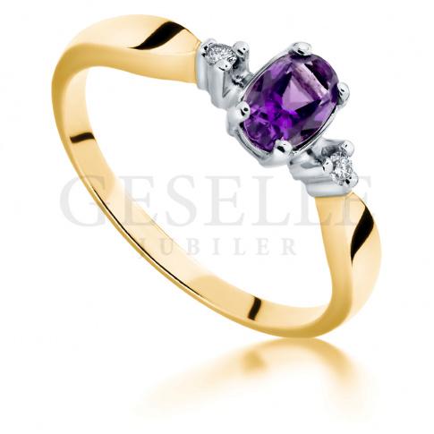 Oryginalny pierścionek zaręczynowy w stylu retro z ametystem i brylantami