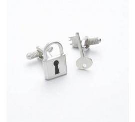 Stalowe spinki do mankietów w kształcie klucza i kłódki - symbol miłości!