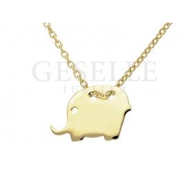 Urocza złota celebrytka - delikatny łańcuszek i lśniący słonik - pomysł na prezent!